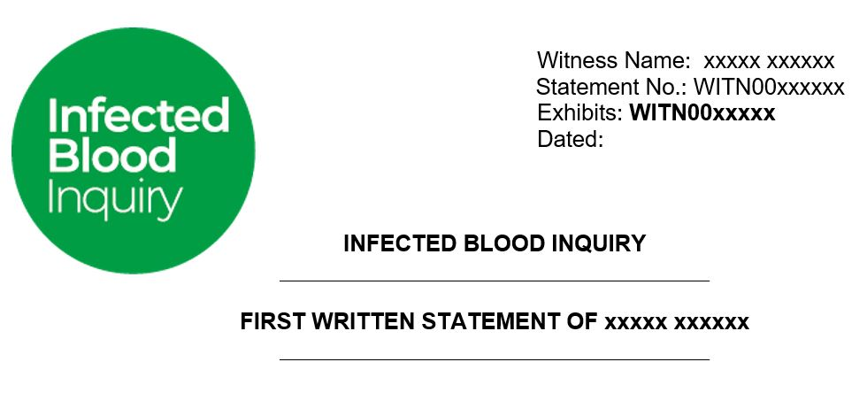 Infected Blood Inquiry – an example of a witness statement